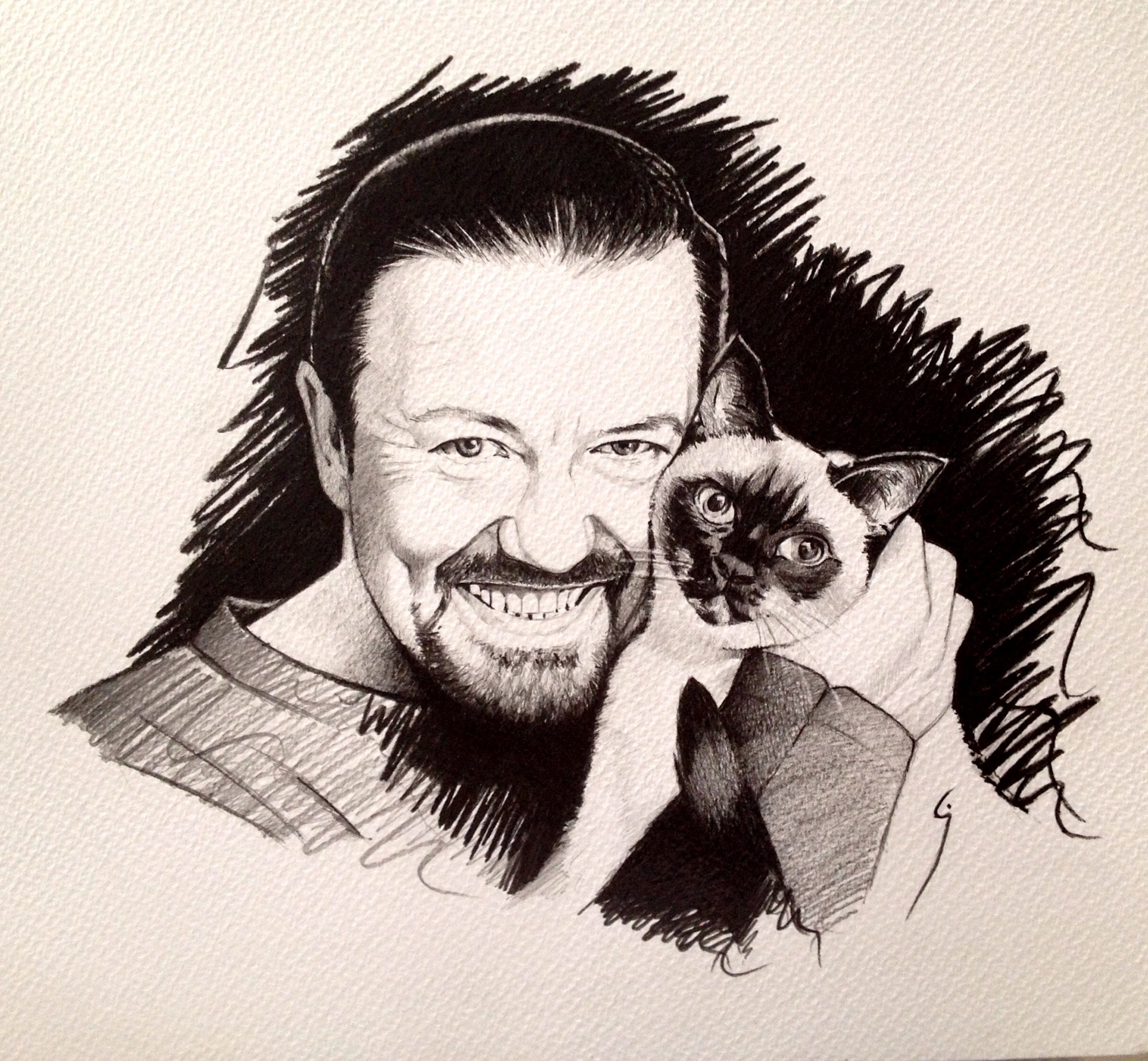 Ricky Gervais is definitely a CAT person!