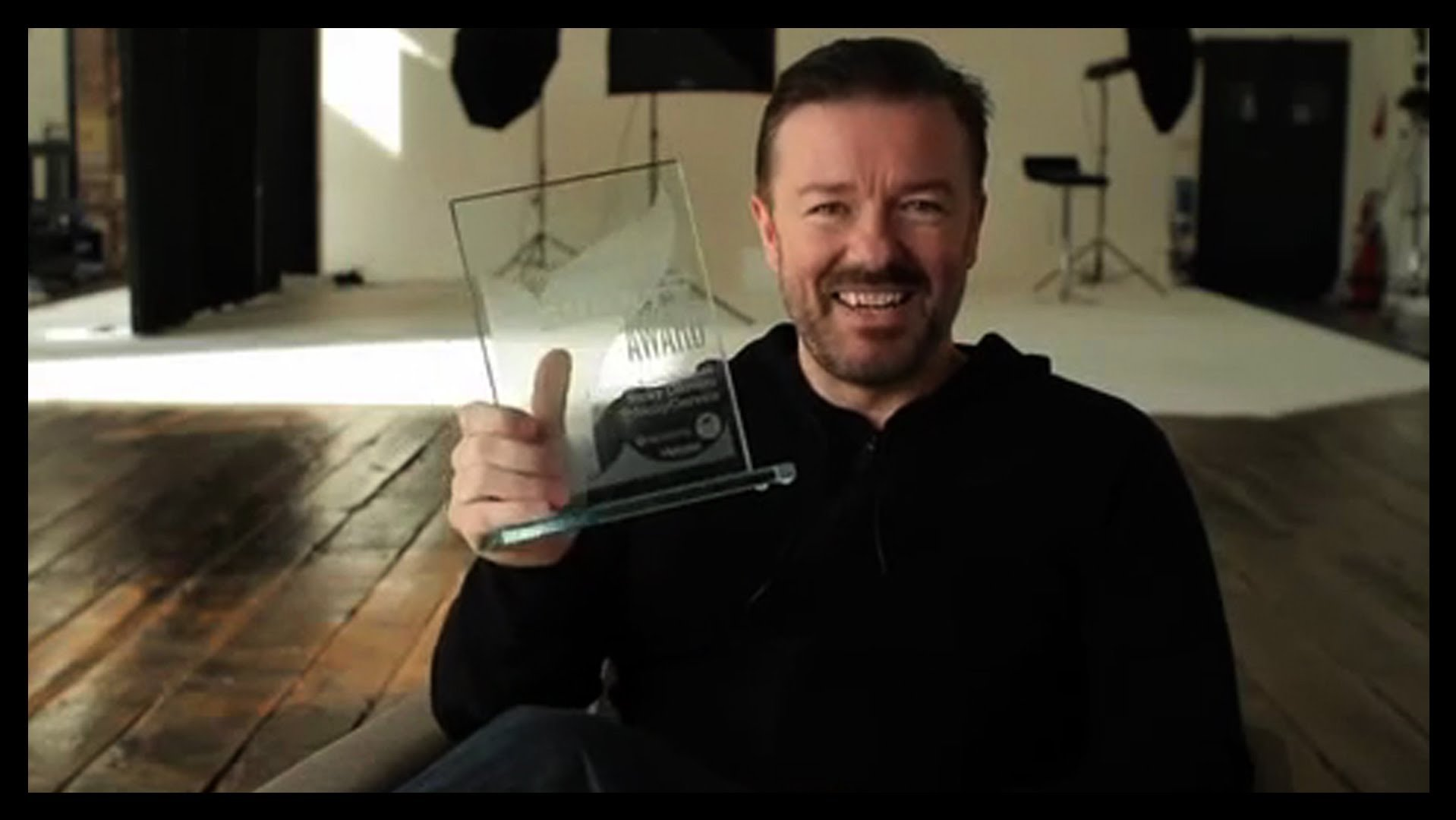 Ricky Gervais with his Lifetime Achievement Award